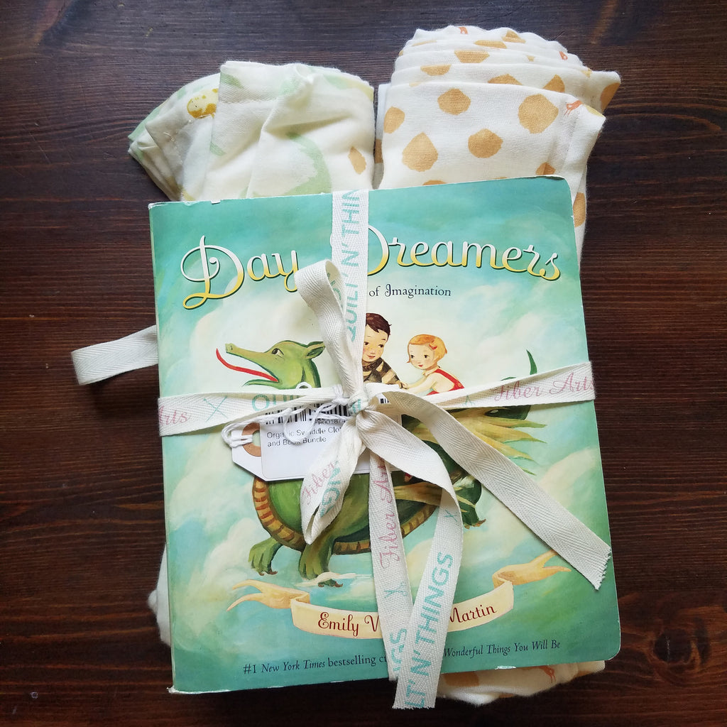 Organic Swaddle Cloth and Book Bundle - Day Dreamers  by Emily Winfred Martin - Baby Shower Gift - Baby Gift