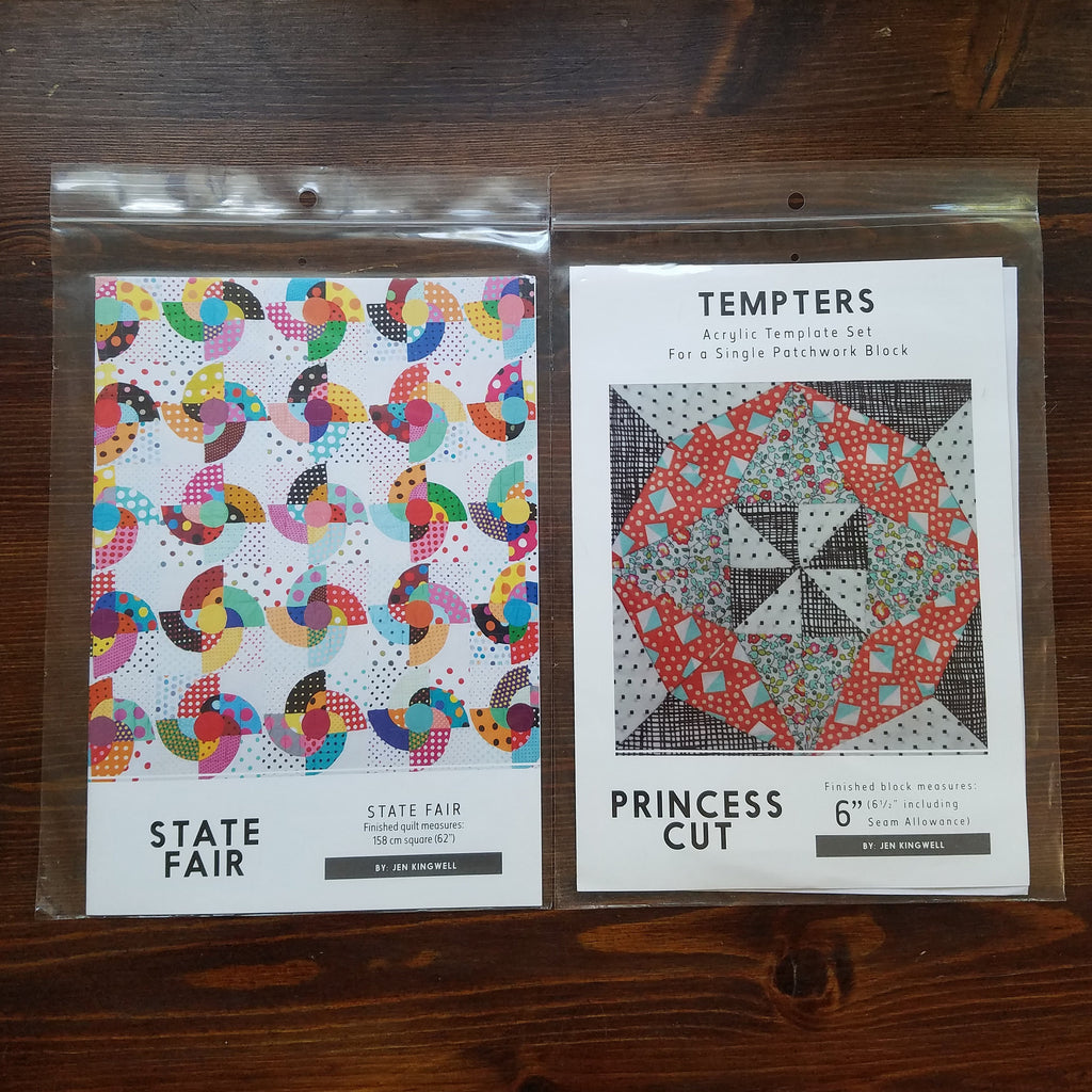 Jen Kingwell Pattern duo - State Fair - Tempters with Acrylic Template - Princess Cut - Jen Kingwell - Quilt Pattern - Modern Quilt