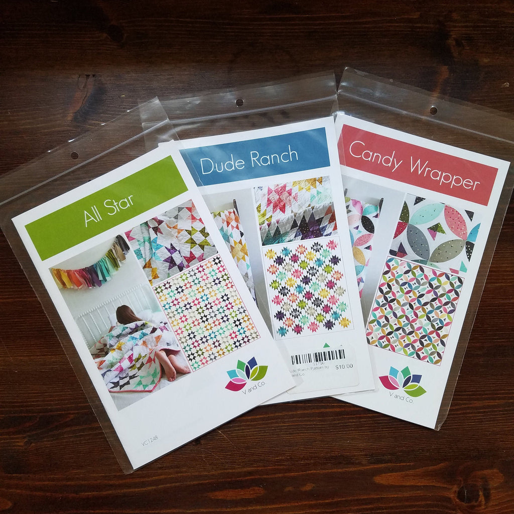 V and Co. Pattern Trio set B - All Star - Dude Ranch - Ombre Weave - Quilt Pattern - Modern Quilt - Ombre Metallic patterns