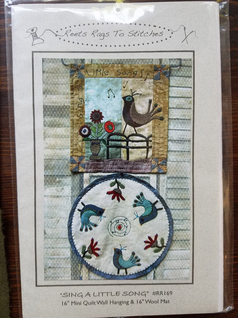Sing A Little Song Mini Quilt - Reets Rags to Stitches - Quilt Kit - Wall Hanging Pattern - Wool Mat Pattern - Sewing Pattern