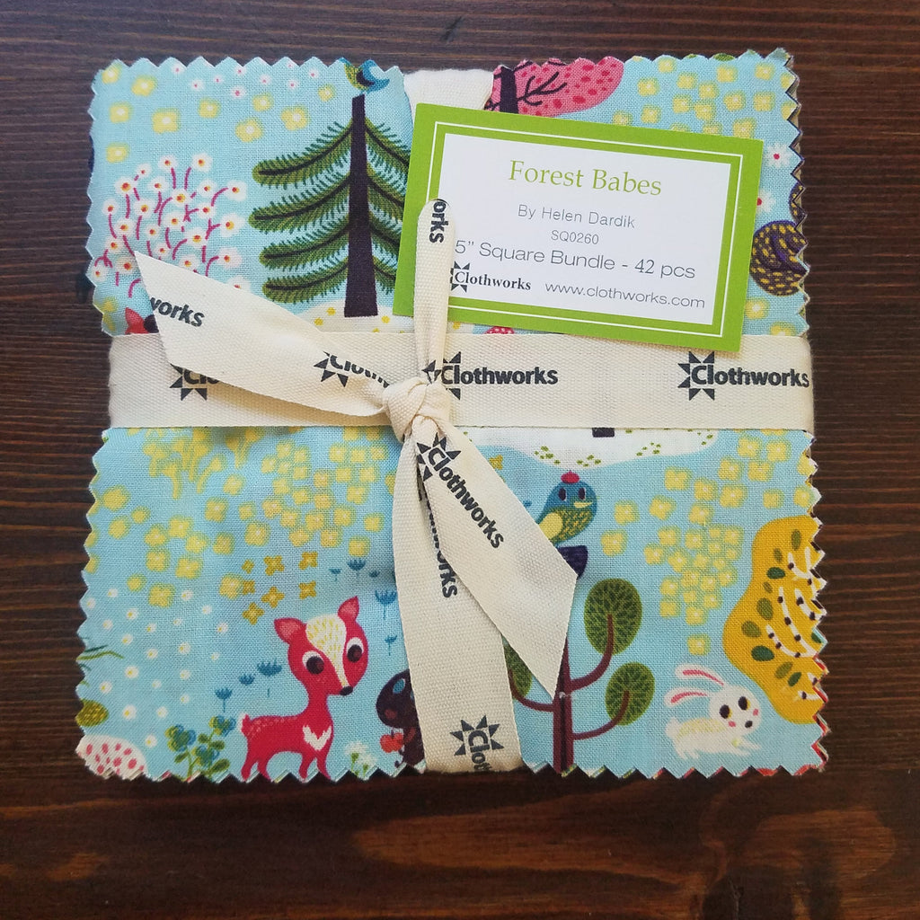 "Forest Babes 5"" Square Bundle- Helen Dardik - Clothworks Fabrics - 5 inch stack - charm squares - quilting fabric - multi color"