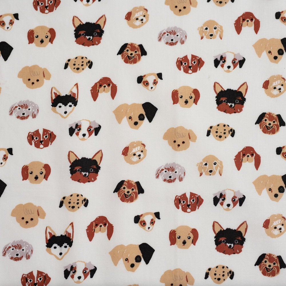 Doggie Dots Cream Poplin - Dog Park -  Jenny Ronen - Birch Fabrics - 180 thread count GOTS certified organic quilting cotton - Dog