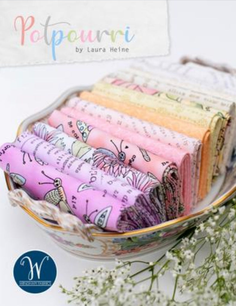 Potpourri Fat Quarter Bundle -  Laura Heine - Collage Quilt - Windham Fabrics - Fat Quarters