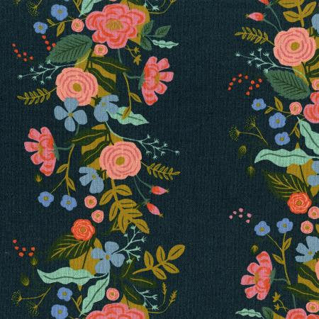 Rifle Paper Co English Garden - Floral Vines - Navy Canvas Fabric - Rifle Paper Co. - Cotton + Steel Fabric