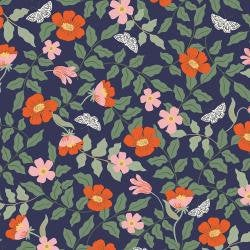 PRE-ORDER - Rifle Paper Co Strawberry Fields - Primrose - Navy Rayon - Rifle Paper Co. - Rifle Paper Co. Rayon