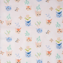 Load image into Gallery viewer, Kitty Garden Main Poplin - Jenny Ronen - Birch Fabrics - 180 thread count GOTS certified organic quilting cotton - cat fabric