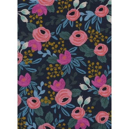 Rifle Paper Co Menagerie - Rosa - Navy Canvas Fabric - Rifle Paper Co. - Cotton + Steel Fabric