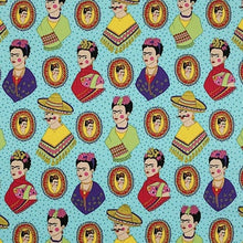 Load image into Gallery viewer, Fantastico Frida - turquoise - Alexander Henry Fabrics - half yard laminate fabric