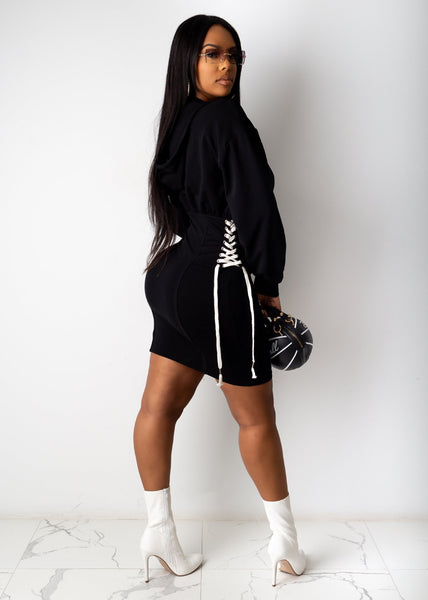 Expensive Black Girl Long Sleeve Hooded Mini Dress