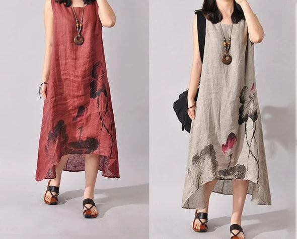 【50% OFF】Japanese Style Cotton and Linen Vintage Dress