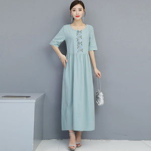 Cotton and Linen Embroidered Round Neck Dress