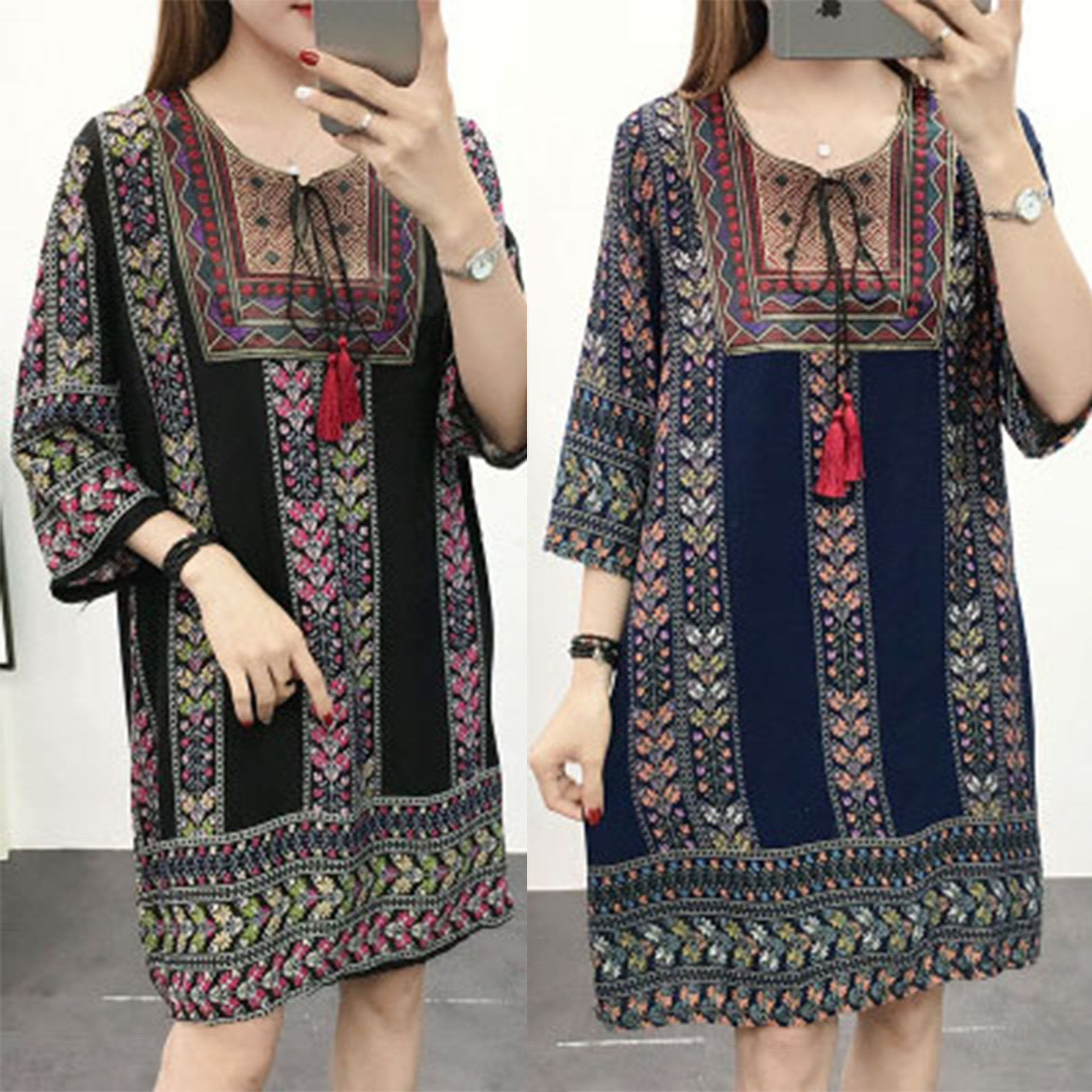 【Buy 1 free 1】Ethnic style cotton silk loose rope print dress