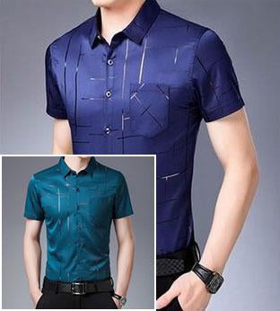 【Buy 1 free 1】Casual bronzing print short sleeve shirt