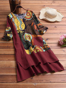 🩱2020🩱- 5-color print plus size loose summer dress【L-5XL】🎉