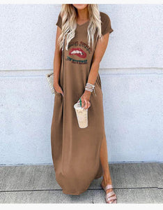 💓💓2020 autumn and winter new round neck loose dress