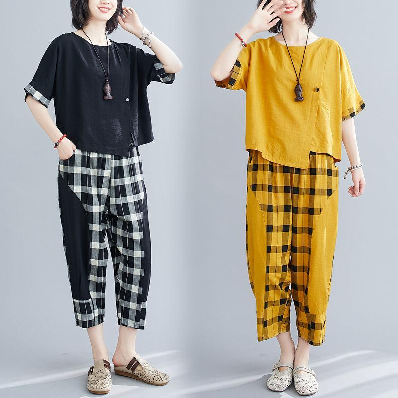 【50% off】2020 NEW  Women's plus size suit(Short sleeve + trousers)