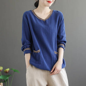 【BUY ONE FREE ONE】🔥Cotton linen 🔥(40kg~100kg)Ladies Japanese style V-neck pocket T-shirt