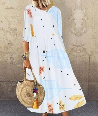 【50% OFF】2020 New printed plus size women's dress(M-5XL)
