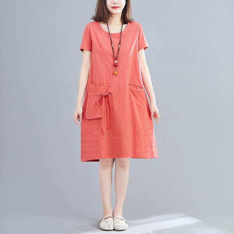 【50% OFF】2020 New style loose cotton and linen mid-length round neck dress