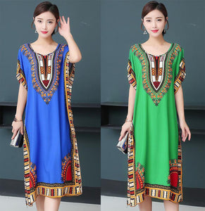 【Buy 1 free 1】Ethnic style cotton silk mid-length dress