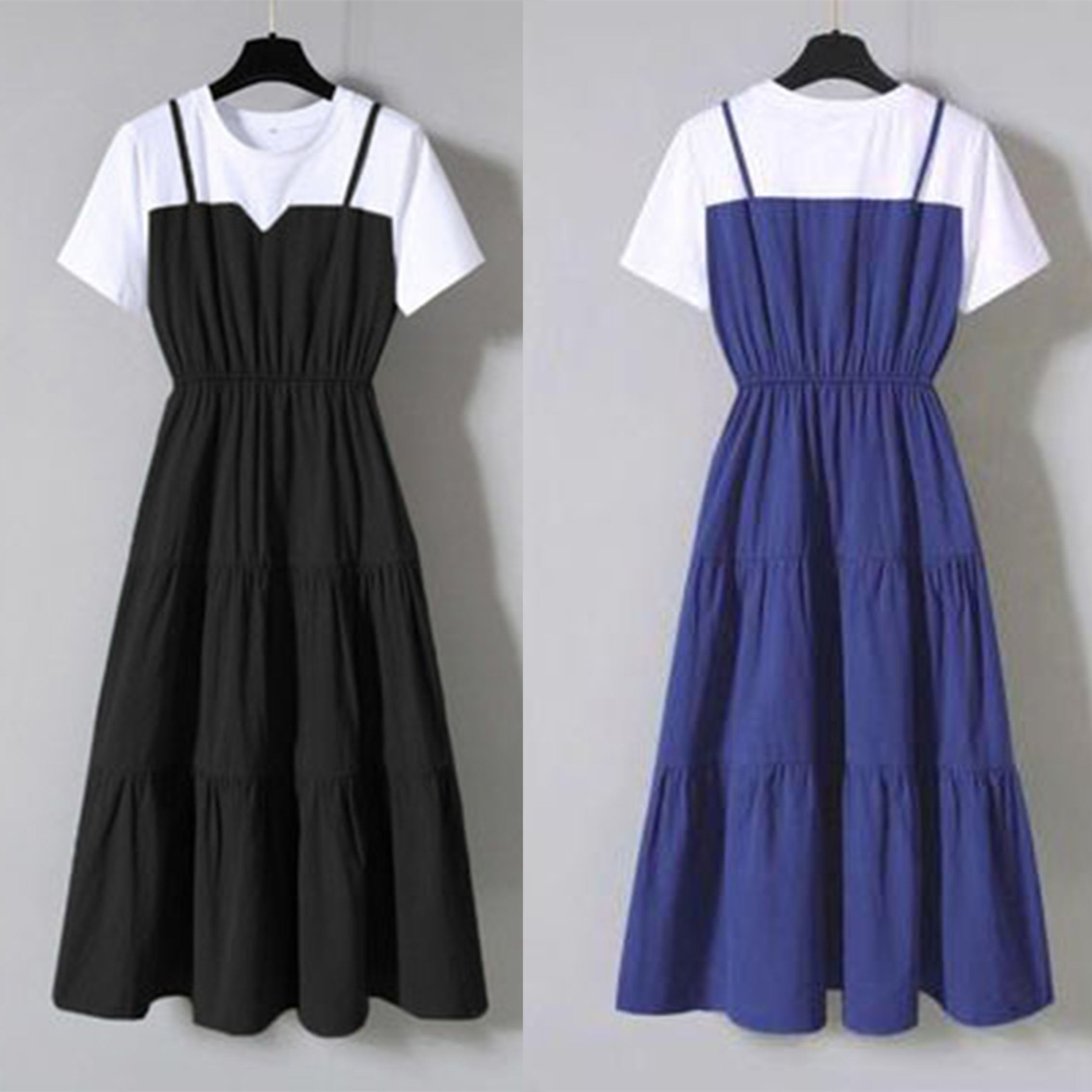 【Buy 1 free 1】Japanese style fake two-piece dress