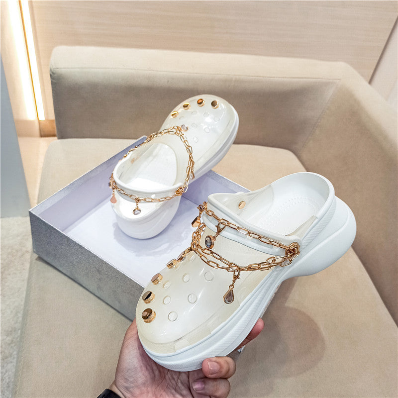 【50% OFF】New transparent crystal jelly platform slippers