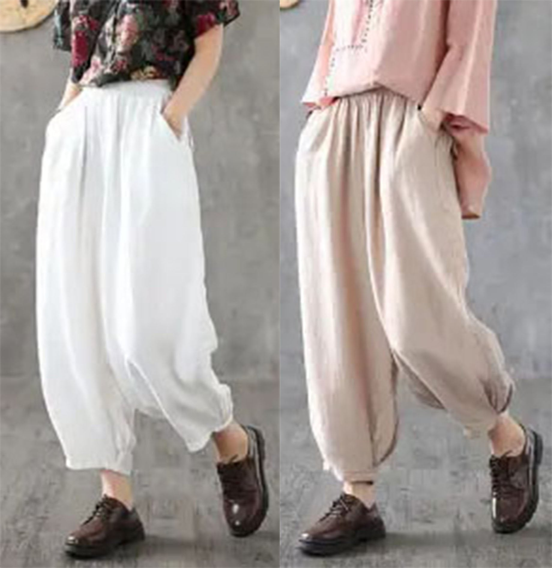 【Buy 1 free 1】2020 new cotton linen elastic waist loose bloomers