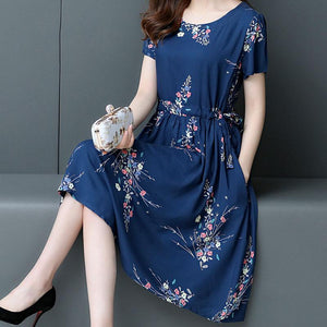 【Buy 1 free 1】Cotton silk plus size mid-length dress