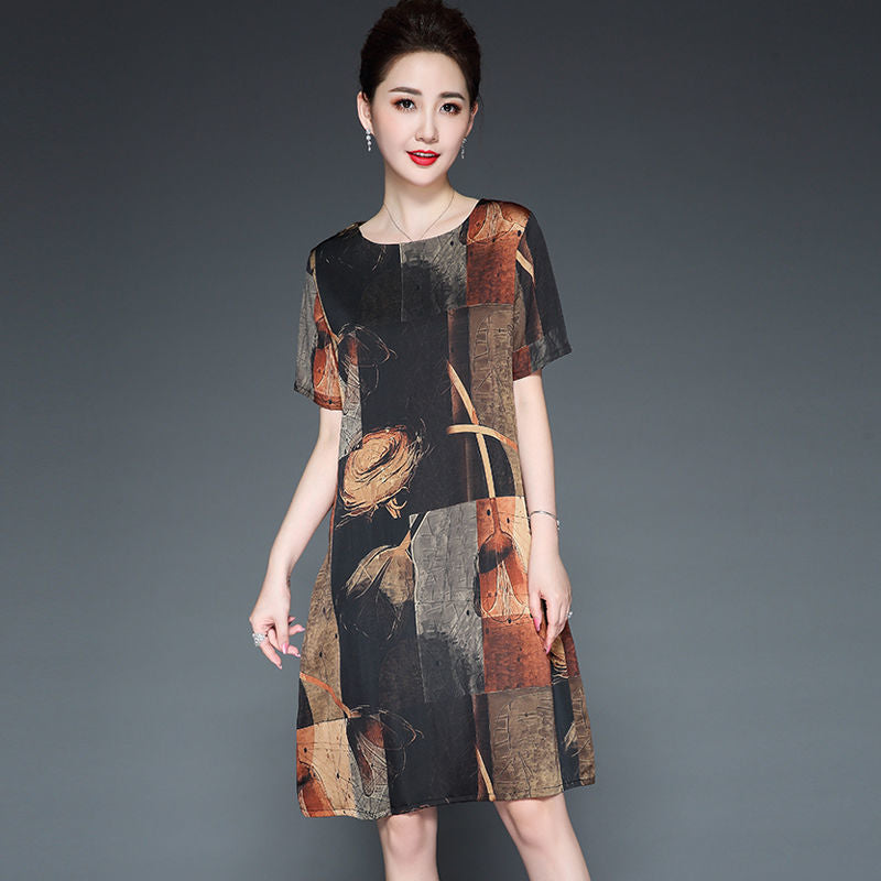 【50% OFF】Japnese Style Silk Print Loose Dress