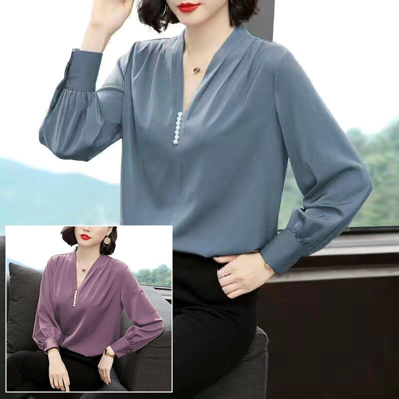 【Buy 1 Free 1】Chiffon long sleeve thin shirt