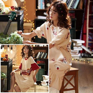 【Buy 1 free 1】Japanese style cotton home nightdress (can be worn outside)
