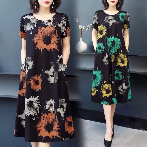 【Buy 1 free 1】Fashion Loose Printed Cotton Dress