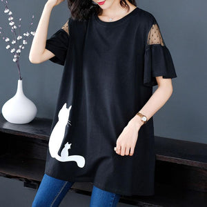 【Buy 1 free 1】Hollow round neck embroidered mid-length T-shirt