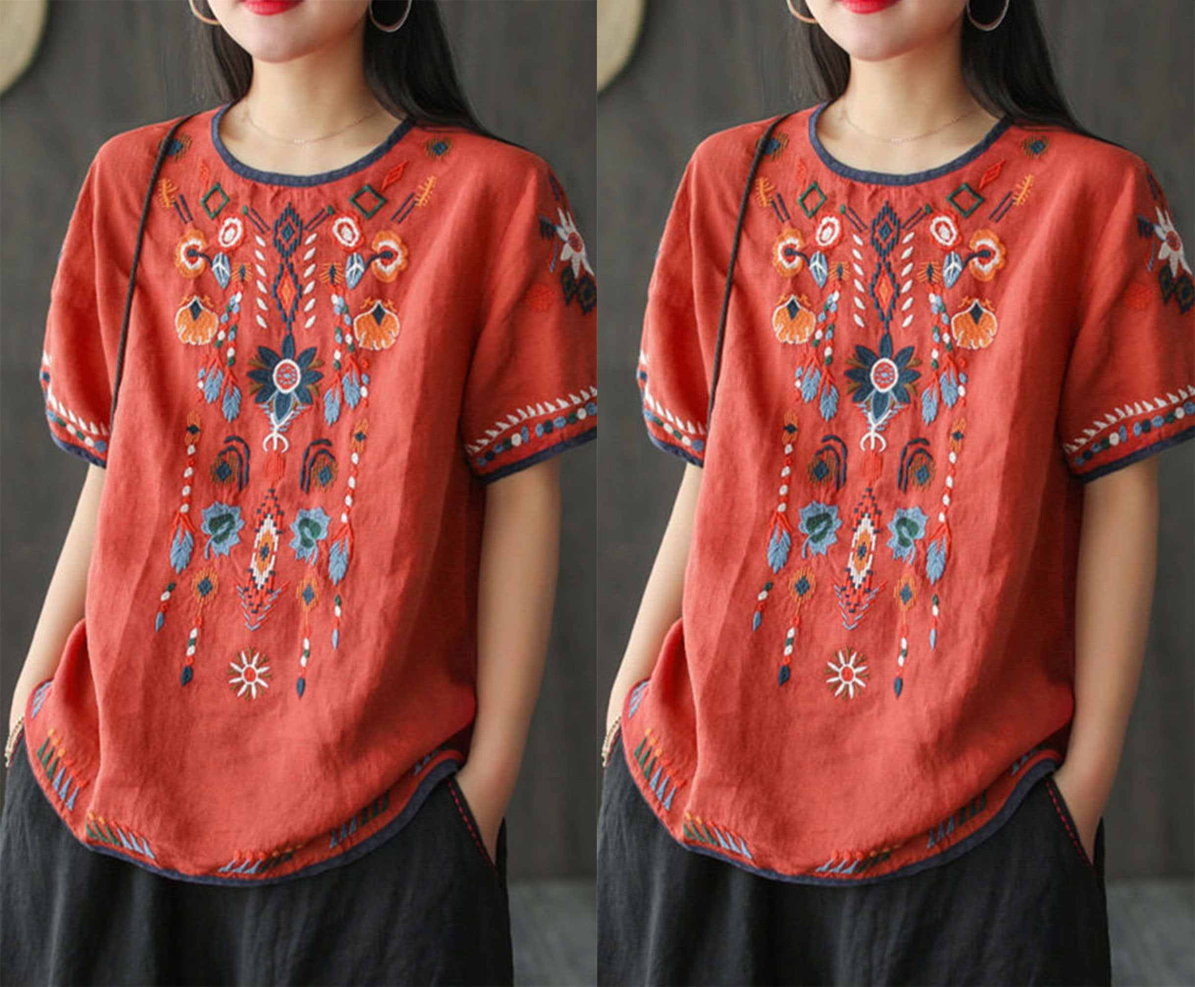 【Buy 1 free 1】2020 Retro literary embroidery loose T-shirt