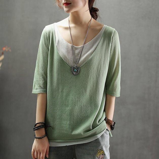 【Buy 1 Free 1】Pure cotton stitching loose plus size T-shirt