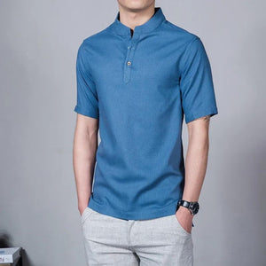 Buy1 Free1●Men's Cotton and Linen Stand Collar Polo Shirt