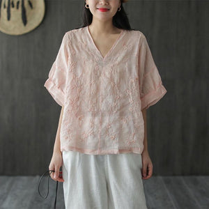 2 pcs♥Be an elegant woman♥Japanese cotton and linen embroidered T-shirt♥50% OFF