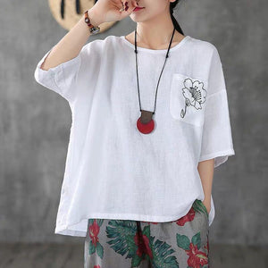 【BUY 1  FREE 1】New Loose Cotton And Linen embroidery T-shirt(M-3XL)
