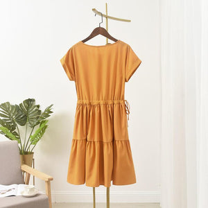 Buy1 Free1●Japanese style multi-color natural cotton dress(M-4XL)