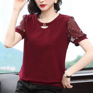 【Buy 1 Free 1】New style plus size chiffon fashion T-shirt