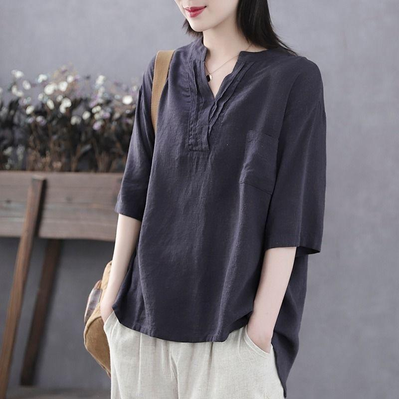【Buy 1 free 1】Japanese loose V-neck cotton and linen T-shirt【S-3XL】