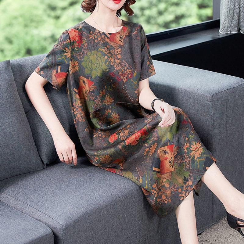 【Buy 1 free 1】2020 Japanese style mulberry silk loose large size fragrant cloud yarn dress【L-5XL】