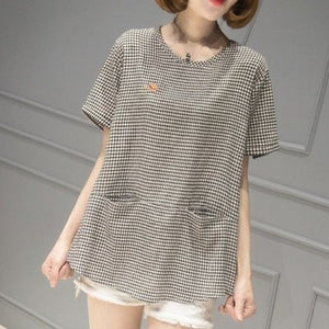 【Buy 1 Free 1】Korean Style Pure Cotton Embroidered T-shirt