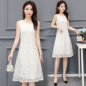 【Buy 1 free 1】Large lace sleeveless mid-length dress
