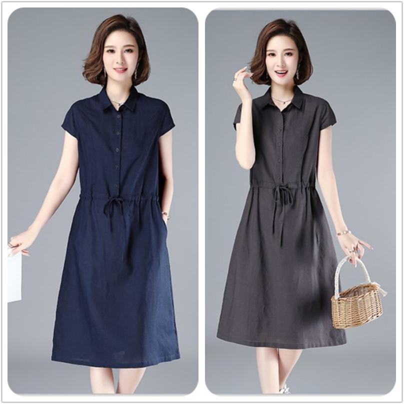 【buy one get one】 Cotton and linen mid-length dress【M-4XL】