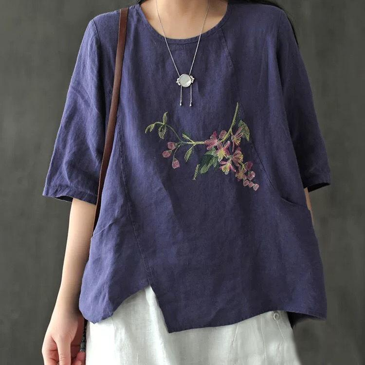 【Buy 1 free 1】Art retro cotton peach blossom embroidery T-shirt