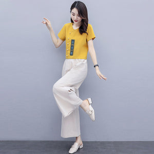 【Buy 1 Free 1】Retro Embroidery Casual Suit (Top+Pants)