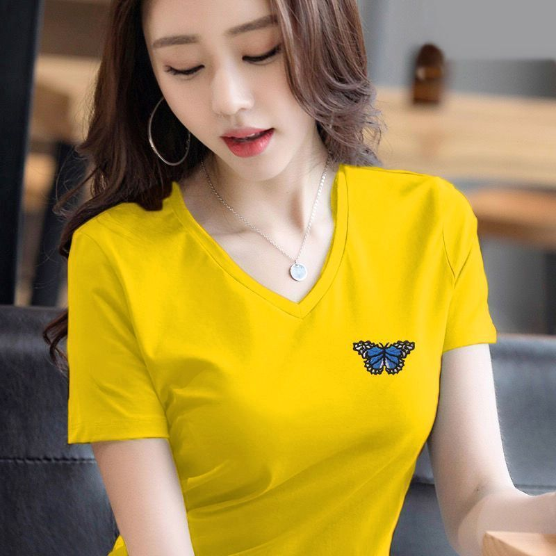 【Buy 1 Free 1】Korean Style V-neck Cotton Loose T-shirt
