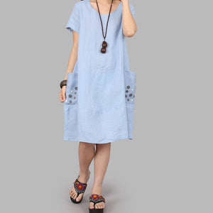 【Buy 1 Free 1】Cotton and linen loose decoration big pocket dress