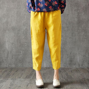 【Two-piece 】♥Women's cotton and linen cropped pants loose harem pants radish pants